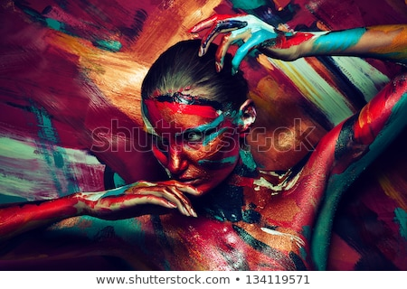 girl's fantasy blue body-art Stock photo © zastavkin