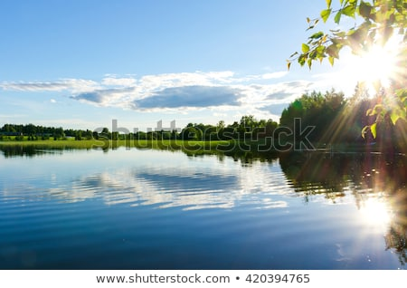 Stock photo: Landscape with lake, trees and sun