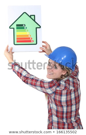 female construction worker with an energy rating sign stock photo © photography33