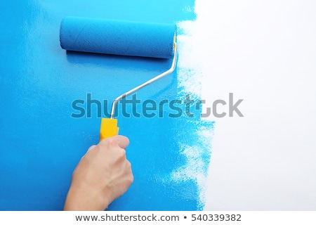 Stock photo: Decorator holding a paint roller