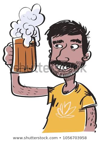 Indiai férfi iszik sör bögre sötét Stock fotó © ziprashantzi