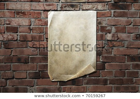 old paper on brickwall Stock photo © Witthaya
