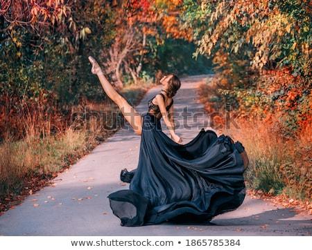 táncos · pózol · láb · kiemelt · fiatal · gyönyörű · nő - stock fotó © feedough