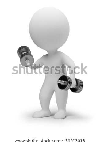 3d small people - dumbbells stock photo © AnatolyM