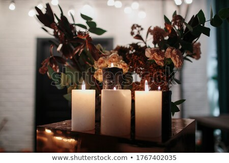stylish candleholder with burning candles Stock photo © prill