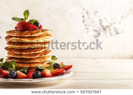 блин · плодов · сахарная · пудра · клубника · завтрак - Сток-фото © m-studio