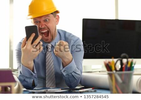 építész kiabál telefon arc építkezés szemek Stock fotó © photography33