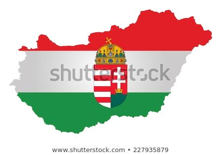 Crista Hungria húngaro preto e branco onda carimbo Foto stock © samsem
