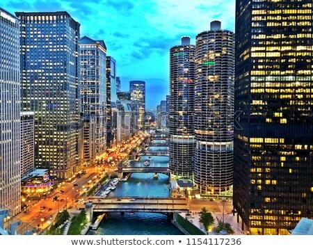 Cityscape Chicago nuit temps Central Park gratte-ciel Photo stock © AndreyKr