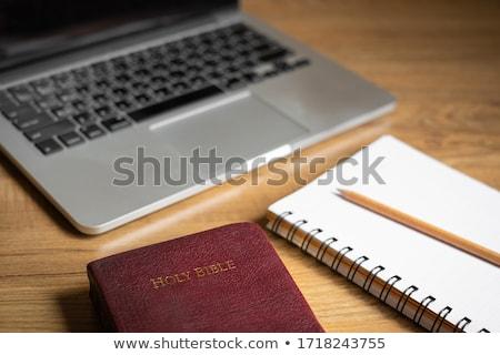 bíblia · teclado · preto · livro · estudar - foto stock © manaemedia