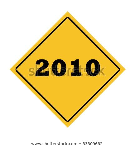 amarillo · cambio · adelante · aislado · senalización · de · la · carretera - foto stock © iqoncept