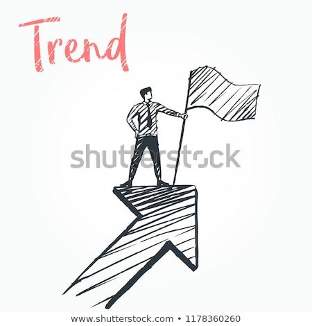 3d mensen klimmen potlood grafiek business hout Stockfoto © Quka