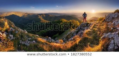 Man landschap permanente naar rugzak Maakt een reservekopie Stockfoto © gemphoto