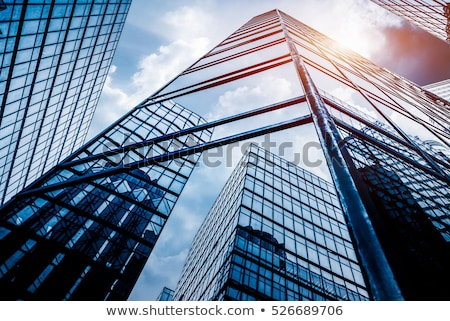 Moderne futuristische kantoorgebouw glas muur Blauw Stockfoto © pab_map
