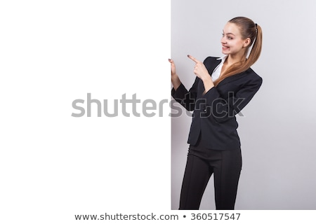 Brunette with white panel Stock photo © photography33