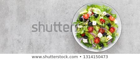 Zomer salade rijke ontbijt ingericht Stockfoto © stockyimages