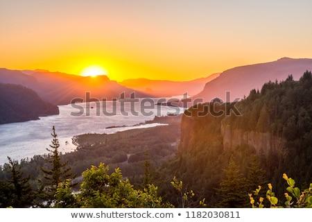 Folyó Washington vízszintes fotó napfelkelte hold Stock fotó © tab62
