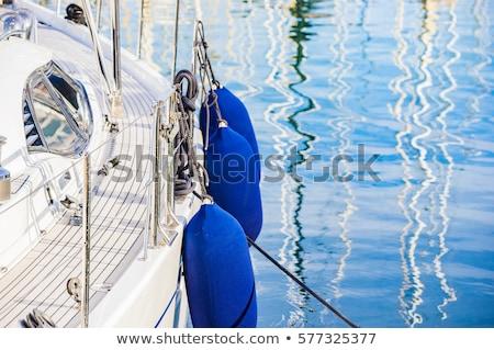 Tekne çamurluk ayrıntılar akdeniz marina beyaz Stok fotoğraf © lunamarina