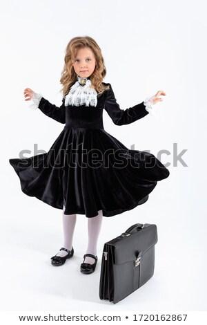 gyönyörű · szőke · nő · fekete · miniszoknya · divat - stock fotó © chesterf