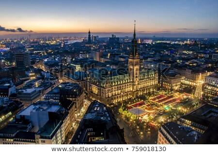 Hamburgo ciudad edificio azul rojo ladrillo Foto stock © LianeM