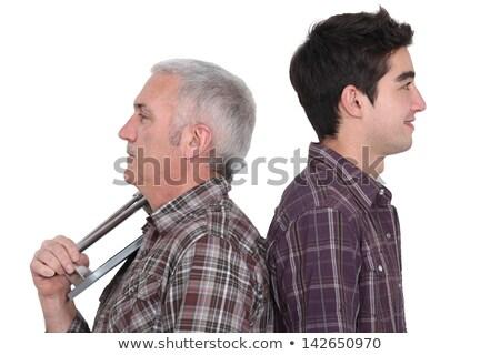 werknemer · achteraanzicht · permanente · garage · pak - stockfoto © photography33