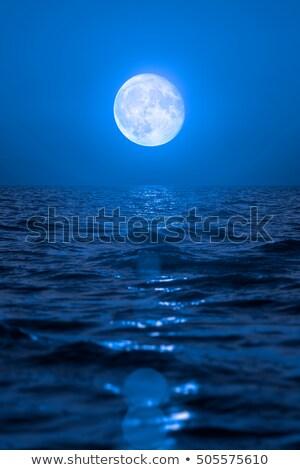 Pełnia księżyca jezioro morza krajobraz zmierzch Zdjęcia stock © sdenness