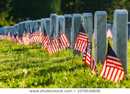 American Flags on a Tombstone Stock photo © ca2hill