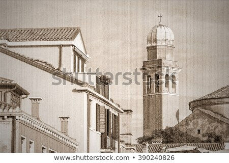 venice roofs in the old sepia style stock photo © tannjuska