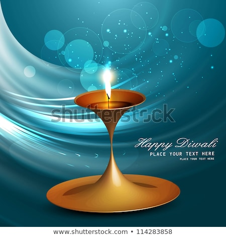 Stock photo: Beautiful art colorful diwali artistic diya blue background