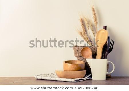 Rustique bois spatule utile cuisine outil Photo stock © doupix