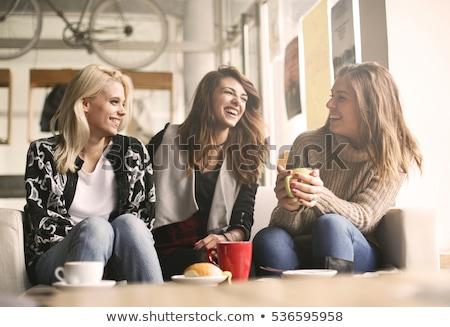 dois · amigos · beber · chá · falar - foto stock © ssuaphoto