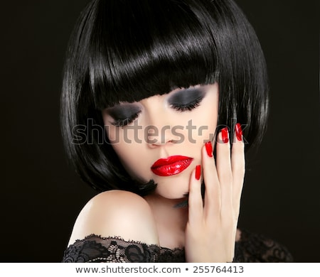 bob short black hairstyle manicured nails and red lips fashion stock photo © victoria_andreas