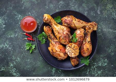 ızgara tavuk yemek bacak sağlıklı beyaz arka plan maydanoz Stok fotoğraf © M-studio