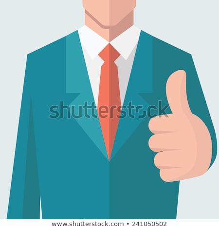 empresario · aprobación · blanco · mano · feliz · fondo - foto stock © smithore