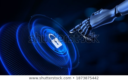 Robot pressing virtual screen with shield icon Stock photo © Kirill_M