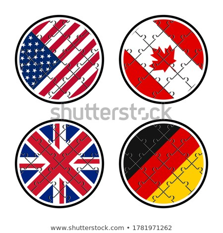 Stock photo: German and USA Flags in puzzle isolated on white background