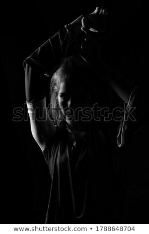 Preto e branco foto mulher jovem dança flamenco menina Foto stock © artjazz