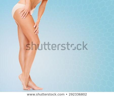 Nő hosszú lábak pamut alsónemű egészség szépség Stock fotó © dolgachov