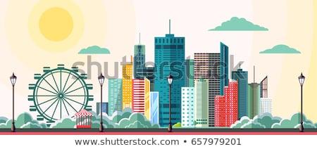 moderno · tijolo · prédio · comercial · canto · blue · sky · céu - foto stock © gemenacom