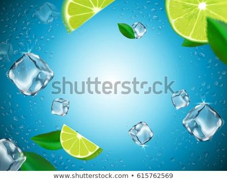 vízcseppek · üveg · citrom · izolált · vadvízi · cseppek - stock fotó © givaga