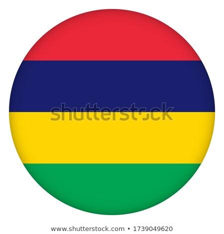 Przycisk symbol Mauritius banderą Pokaż biały Zdjęcia stock © mayboro1964