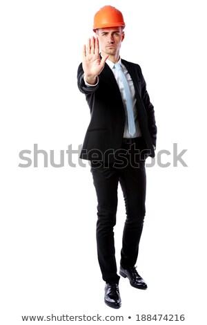 портрет бизнесмен шлема остановки жест Сток-фото © deandrobot