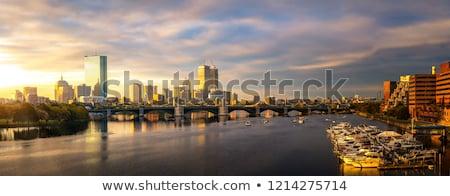 Boston horizonte puesta de sol río Massachusetts reflexión Foto stock © lunamarina