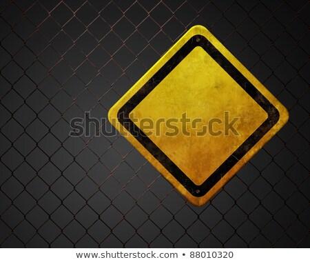 Ki grunge citromsárga figyelmeztető jel kerítés ipari Stock fotó © stevanovicigor