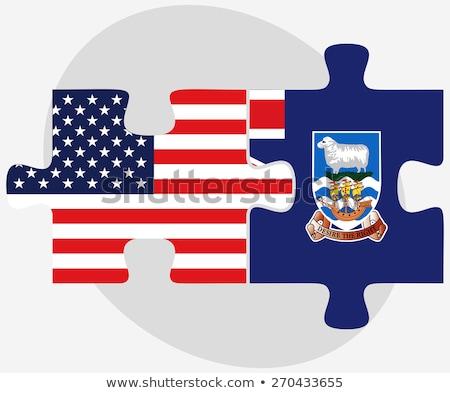 Zdjęcia stock: USA · falklandy · flagi · puzzle · wektora · obraz