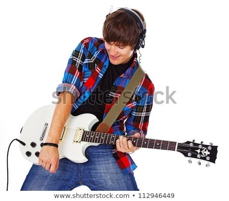 ストックフォト: 手 · 代 · ギター · 女性 · 孤立した · 白