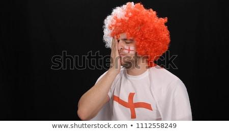 Stock fotó: Csalódott · futball · ventillátor · lefelé · néz · fehér · sport