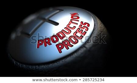 üretim süreç dişli vardiya kırmızı metin Stok fotoğraf © tashatuvango