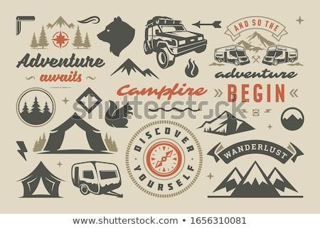Tábor sátor embléma kempingezés illusztráció textúra Stock fotó © mikemcd