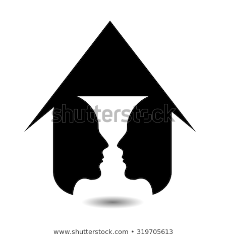 Form Of Vase Created From 2 Faces Inside A House Vector Illustration